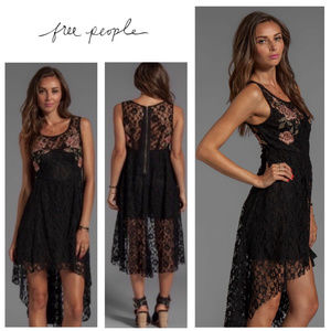 Free People Lace Dress High Low Floral Embroidered